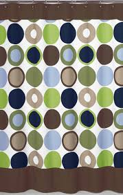 Green And Brown Shower Curtains Designer Large Dot Blue Brown Green Fabric Shower Curtain
