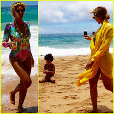 beyonce sports swimsuit for family vacation in hawaii beyonce