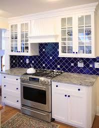 blue kitchen backsplash blue kitchen white cabinets home design ideas