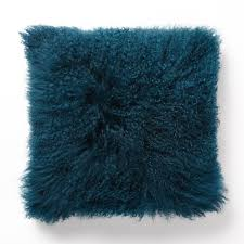Cusion Cover Mongolian Lamb Cushion Cover Blue Teal 41cm West Elm Au