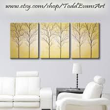 mustard home decor yellow canvas art original painting 3 piece wall art large