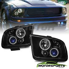 mustang projector headlights ccfl halo 2005 2006 2007 2008 2009 ford mustang black projector