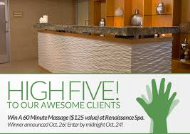 win a 60 minute massage at the renaissance hotel spa xex hair