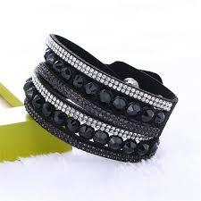 rhinestone leather wrap bracelet images Swarovski rhinestone leather double wrap multi layer bracelets jpg