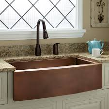 kitchen curved front copper apron front sink and kitchen faucets