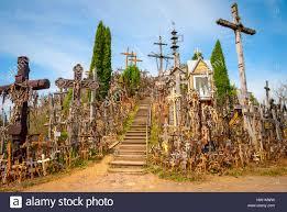 hill of crosses kryziu kalnas lithuania stock photo royalty