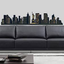 new york skyline wall decal large amazon co uk kitchen home new york skyline wall stickers