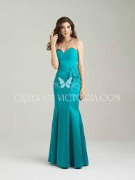 strapless jade satin long chic sweetheart mermaid bridesmaid gown