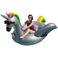 Two GAME Giant Inflatable Ride Alicorn Unicorn Pool Floats w
