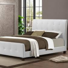 hodedah white queen size metal panel bed with headboard and