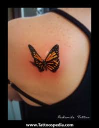 3d butterfly design on back shoulder tattoos book