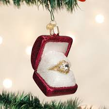 world ring in box glass blown ornament