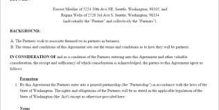 partnership agreement form partnership agreement template us