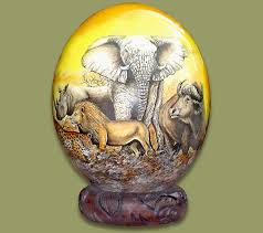 painted ostrich egg egg decoupage big five 1