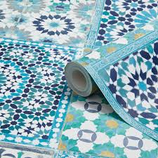 grandeco sapphira blue mosaic tile wallpaper blue mosaic