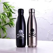 silver wine bottles 2pcs 500ml creative black and silver stainless steel skull bowling