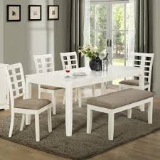 White Kitchen Table With Bench Roselawnlutheran - White dining room table set