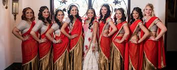 red and gold bridesmaids saris u2013 indian wedding venues in southern