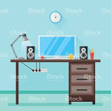 flat design vector illustration of modern home workplace stock