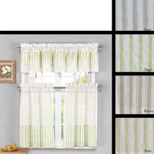 Valances And Curtains 3 Piece Sheer Kitchen Window Curtain Set 1 Valance And 2 Tier