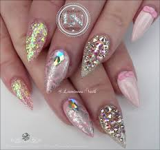 luminous nails girly nails pretty in pink with bling cute