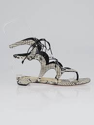 christian louboutin brown grey python girafina gladiator flat