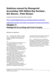 managerial accounting 15th edition garrison solutions manual