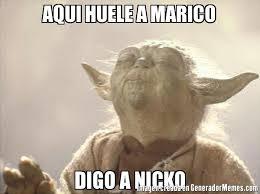 Meme And Nicko - aqui huele a marico digo a nicko meme de yoda buguero memes