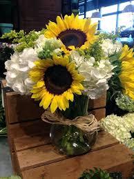 Mason Jar Flower Arrangement Flower Arrangements Ideas Modern Sunflower And Hydrangea Flower
