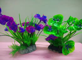 purple green aquarium ornament artificial plants 20 9 6cm fish