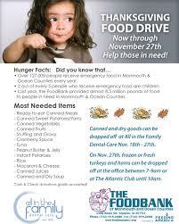 thanksgiving food drive items 2013 community involvement wall nj dental office volunteering 2013