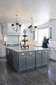 gray kitchen cabinets with dark wood floors kitchen decoration