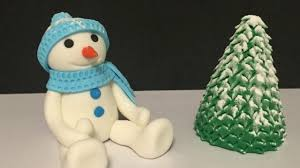 how to make fondant snowman and tree youtube