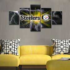 steelers home decor pittsburgh steelers football canvas print wall art five piece home
