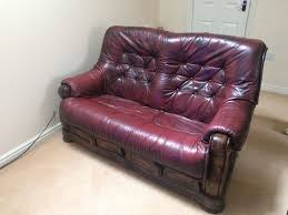 Chesterfield Style Sofa Sale by Red Wine Coloured Leather Chesterfield Style Sofa In Bedford
