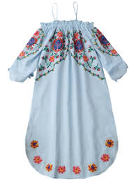 embroidered cold shoulder casual dress light blue casual dresses