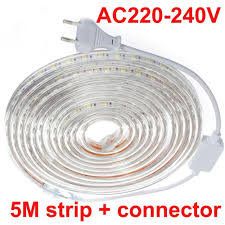 brightest led strip light 5mwaterproof daylight 220v 5050 smd 60 led flexible strip light