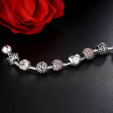 Bracelet Fleur Mariage Wostu Charm Bracelet Avec Amor Cupidon Amour Et Cubique Cadeau D