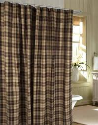 shower curtain millville check brown nutmeg primitive country