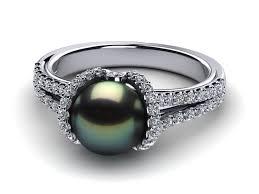 ribbon ring 14k white gold diamond black green tahitian pearl ribbon ring