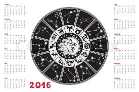 2016 new year calendar horoscope circle with zodiac sign