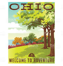 Ohio travel for free images Ohio travel poster or sticker vector illustration of park