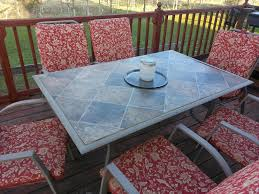 Tablecloth For Patio Table With Umbrella by Replacing The Broken Glass On Our Patio Table With A Linoleum