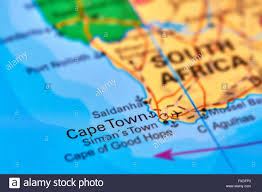 Africa On The Map by Cape Town Capital City Of South Africa On The World Map Stock