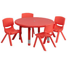 plastic round table and chairs amazon com flash furniture 33 round red plastic height adjustable