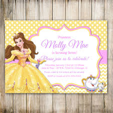 2nd Birthday Invitation Card Beauty And The Beast Birthday Invitation Princess Belle