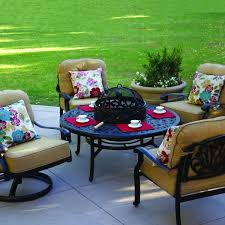 Patio Table With Firepit by Darlee Elisabeth 5 Piece Cast Aluminum Patio Fire Pit Conversation