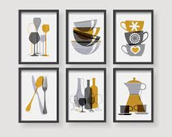 Gray And Yellow Kitchen Ideas Yellow Kitchen Decor Etsy