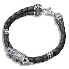 mens bracelet black leather images Black diamond silver fleur de lis braided leather bracelet jpg