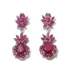 ruby drop earrings colleen beautiful bloom ruby floral sterling silver drop
